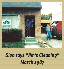 """Sign Says """"Jim's Cleaning"""" March 1987"""