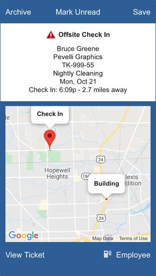 CleanGuru Janitorial Software Alerts & Notifications Screenshot